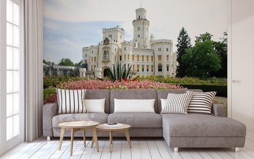 Hluboká nad Vltavou - nejkrásnější palác České republiky, nástěnná malba do obývacího pokoje, bílá, květiny, zeleň