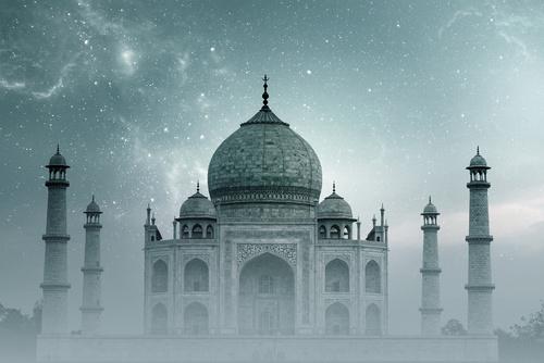 Fototapeta Taj Mahal Indie, hvězdná obloha, mlha, sklon, šedá, do ložnice, obývací pokoj