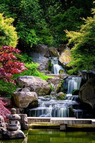 Fototapeta Vodopád Koupelna, Japonsko, skály, stromy