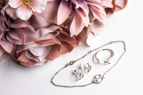 Sada stříbrných šperků - s motivem kočky
