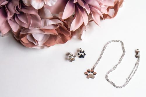 Sada stříbrných šperků - s motivem psí tlapky