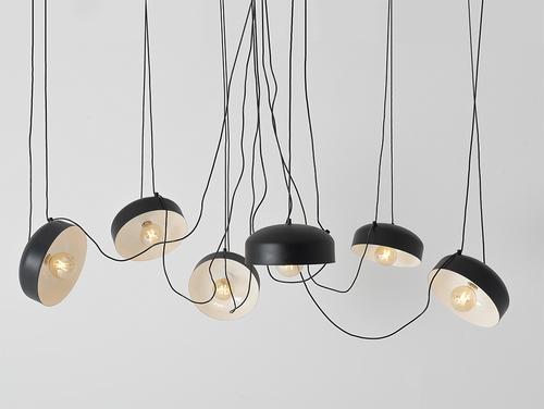 Závěsná lampa POPO FLAT L 6 - černá