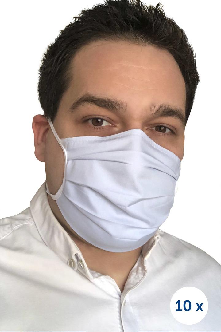 Ochranná bavlněná maska na popruhy 10 kusů modrá