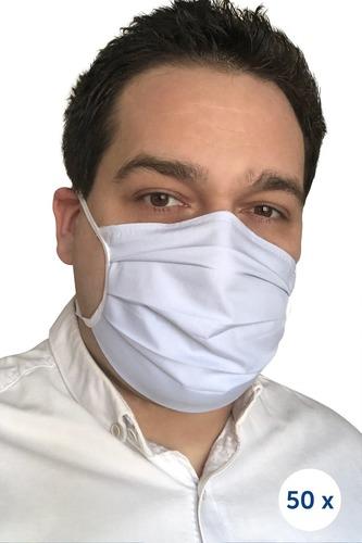 Opakovaně použitelná bavlněná maska na provázcích - 50 ks modrá
