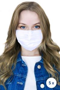 Bílá - opakovaně použitelné bílé bavlněné filtrační masky 5 kusů small 0