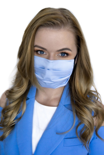 Azure - bavlněná maska na jedno použití, 5 kusů, modré, černé řetězce
