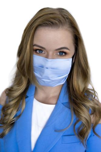 Azure - opakovaně použitelná bavlněná maska, modrá, černé pásky, 10 kusů