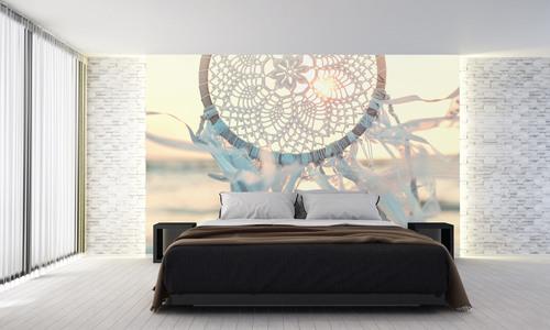 Dreamcatcher tapety, moře, vítr, sluneční paprsky, ruční práce, bílá, dekorace