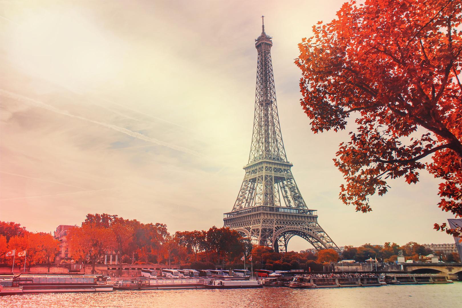 Fototapeta Eiffelova věž, červené listy stromů, pohled shora nad Seinou