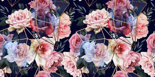 Fototapeta Květiny na černém pozadí, zlaté geometrické vzory, růže, 3D tapety