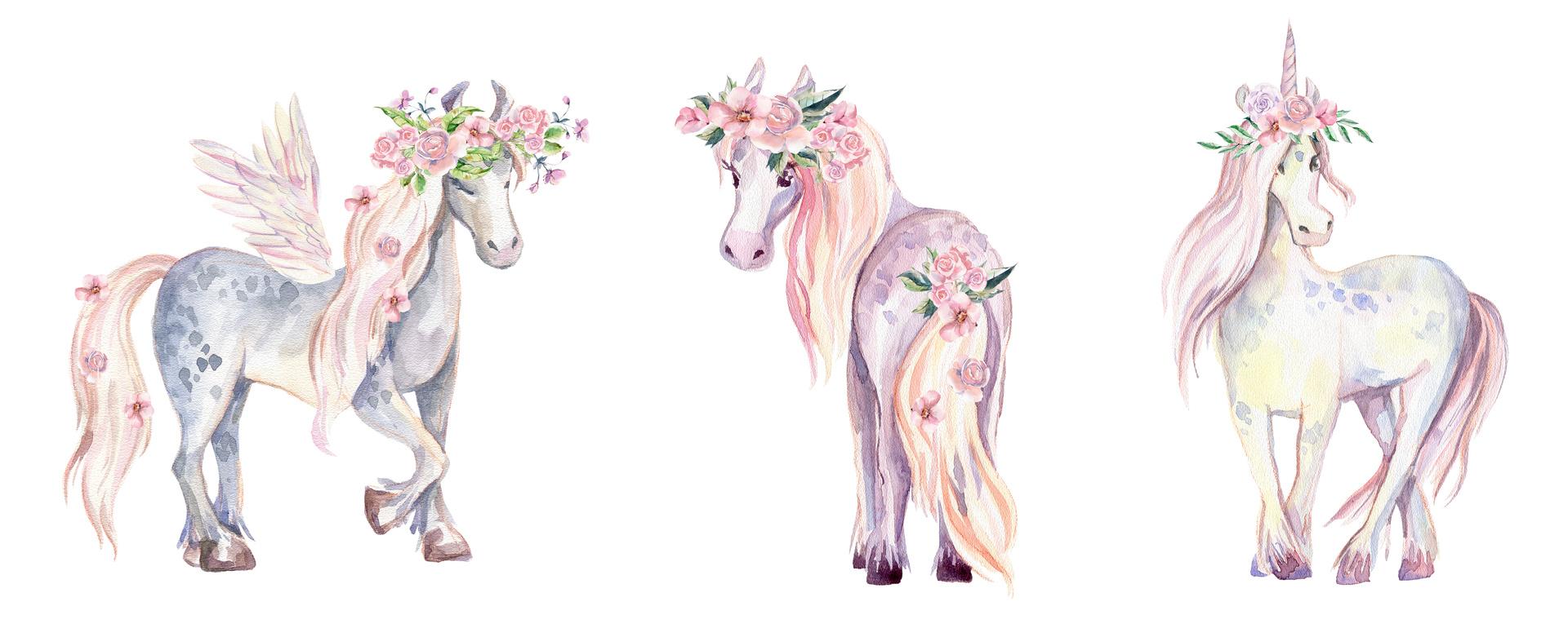 Fototapeta Unicorn, Pegasus a Pony, akvarel, květiny, pro dívky