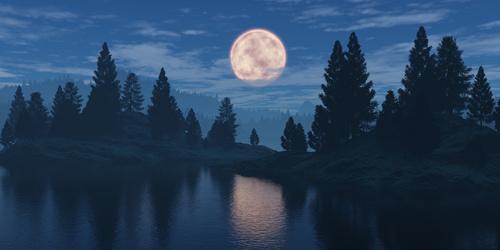 Fototapeta pro měsíc ložnice, les, zamračená obloha, odraz ve vodní hladině