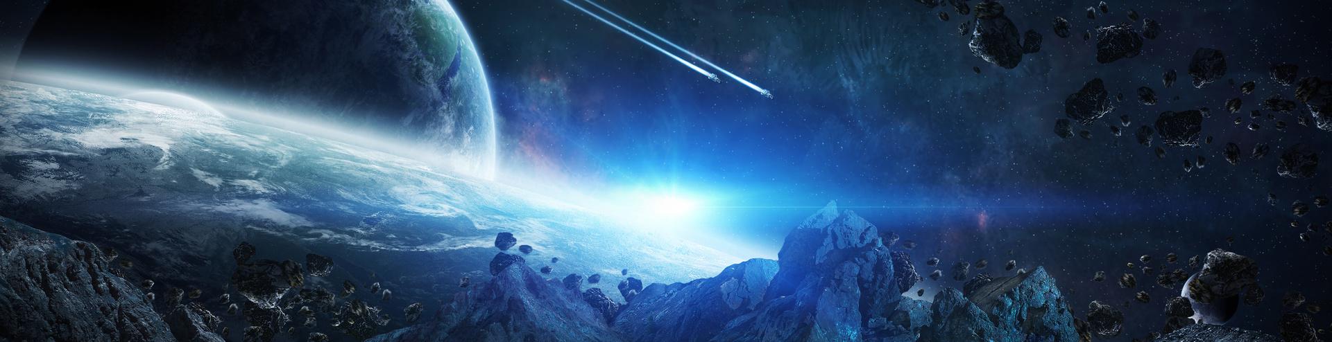 Fototapeta 3D, prostor, modrá barva, asteroidy, země.