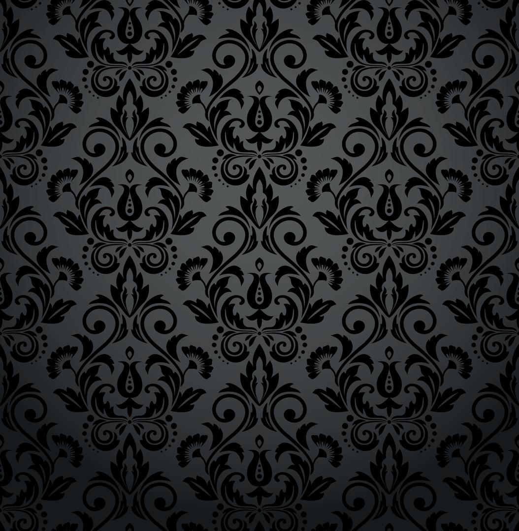 Nástěnná malba do obývacího pokoje - květinové ornamenty, baroko, odstíny šedé a černé, půvab