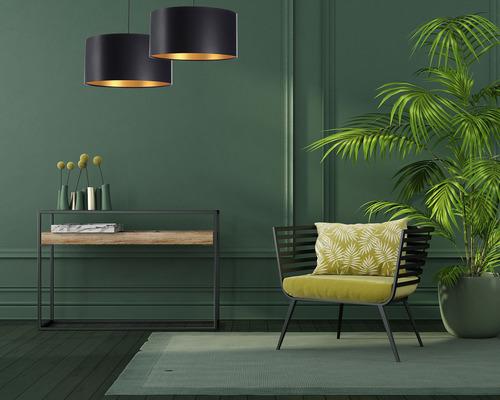 Černé zlato závěsná lampa LEXIE E27 60W latex, satén