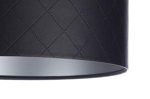 Kožená prošívaná lampa E27 60W váleček černá stříbrná small 1