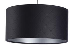 Kožená prošívaná lampa E27 60W váleček černá stříbrná small 6