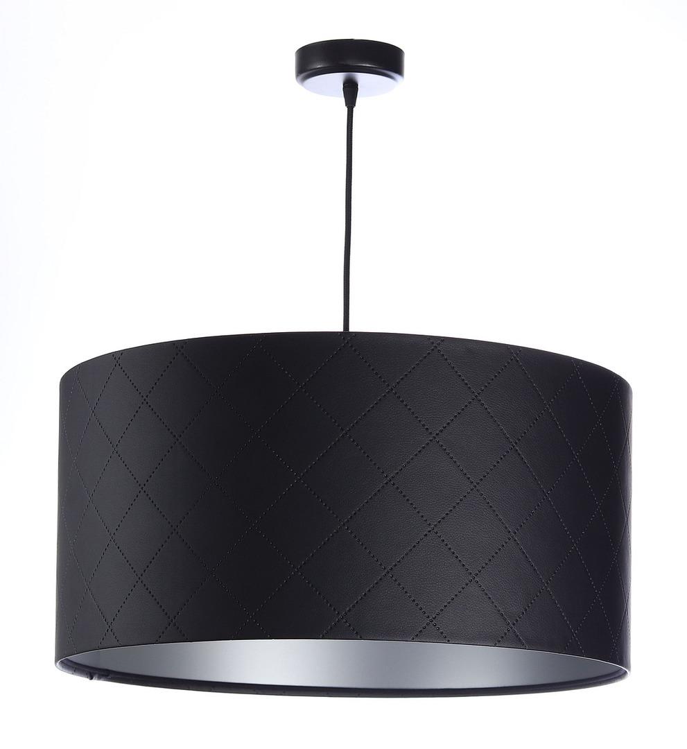 Kožená prošívaná lampa E27 60W váleček černá stříbrná