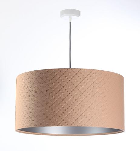 Závěsná lampa do ložnice Kožená E27 60W prošívaná lososová stříbro