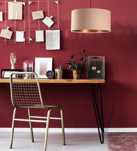 Závěsná lampa se stínem Kůže E27 60W prošívaná, losos, měď