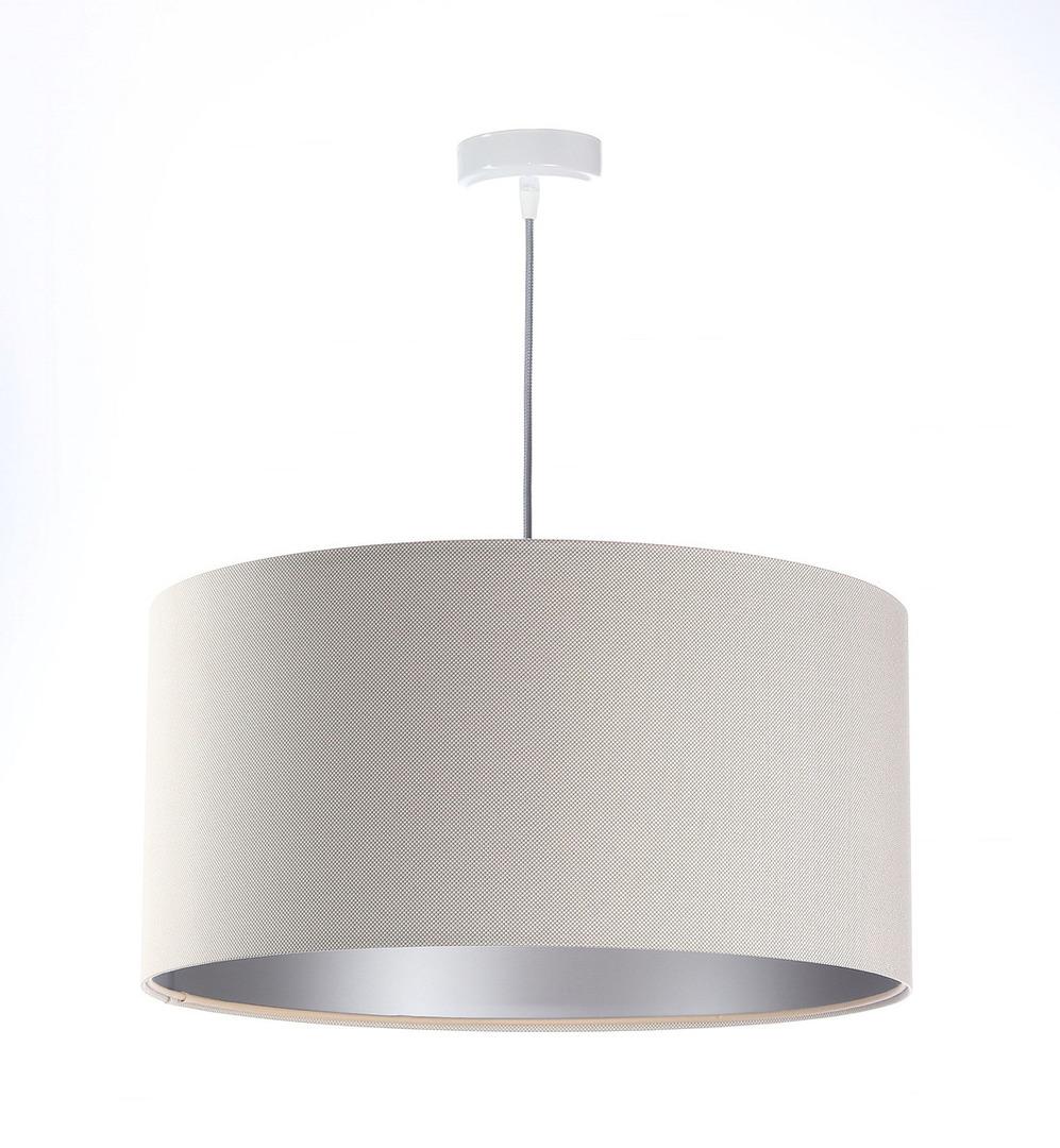 Moderní závěsná lampa Kožená čalouněná E27 60W, krémová, stříbrná