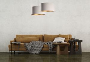 Závěsná lampa nad koženým stolem E27 60W, béžová, zlatá small 5