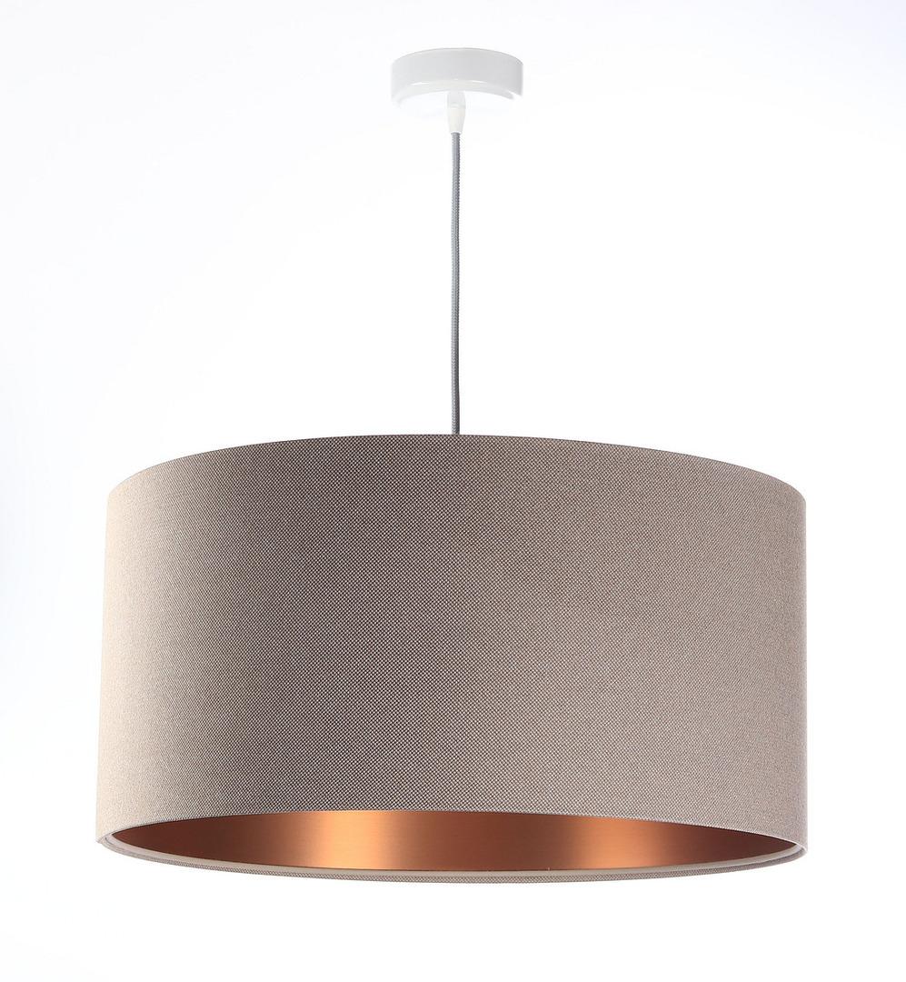 Moderní kožená závěsná lampa E27 60W čalouněná, béžová, měď