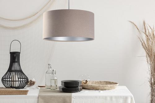 Závěsná lampa Kožená čalouněná látka E27 60W, béžová, stříbrná