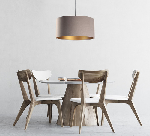 Závěsná lampa do jídelny Kůže E27 60W čalouněná, béžová, zlatá