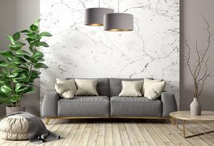 Závěsná lampa s odstínem kůže šedá, zlatá E27 60W small 5