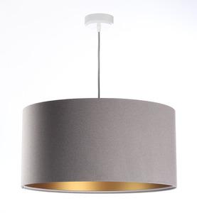 Závěsná lampa s odstínem kůže šedá, zlatá E27 60W small 0