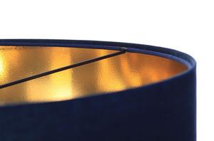 Kůže - tmavě modrá závěsná lampa, sametová látka, zlato E27 60W small 4