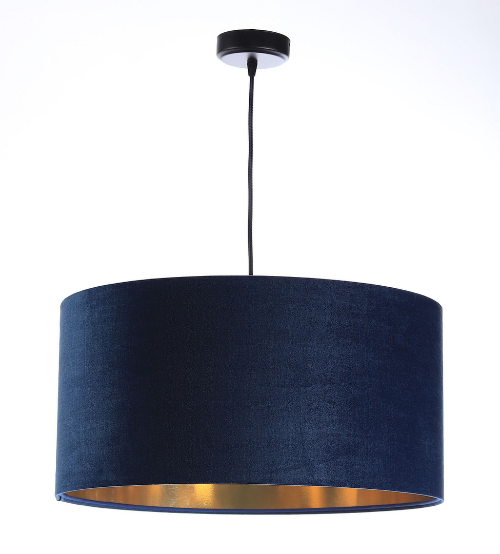 Kůže - tmavě modrá závěsná lampa, sametová látka, zlato E27 60W