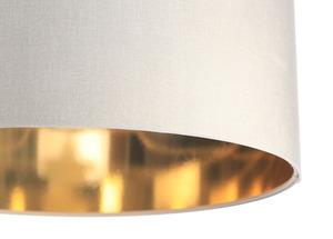Kožená závěsná lampa nad stolem, sametová látka, krém / zlato E27 60W small 1