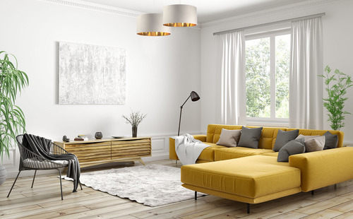 Kožená závěsná lampa nad stolem, sametová látka, krém / zlato E27 60W