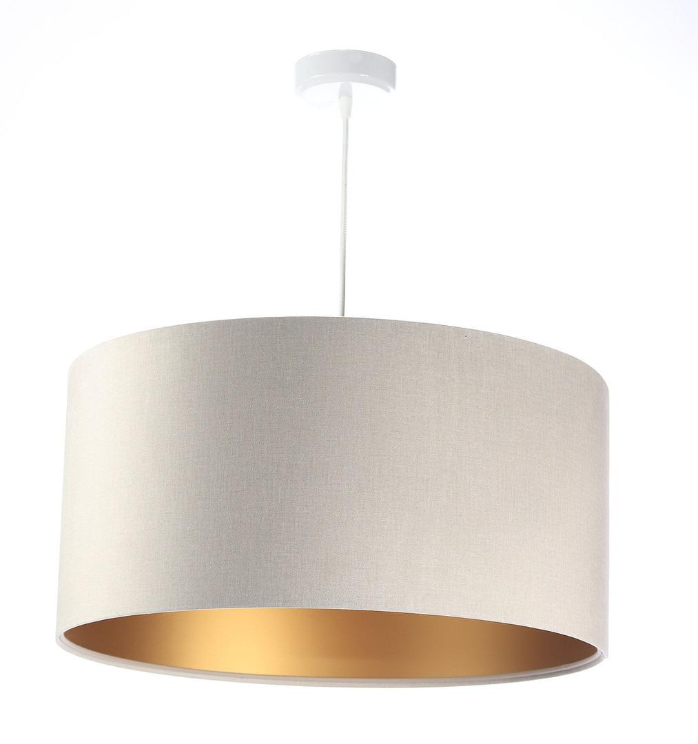 Kožená závěsná lampa, sametová látka, matné zlato E27 60W