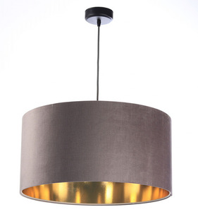 Lustr kulatý lustr 60W E27 tmavě béžový, zlatý, čalouněný small 0