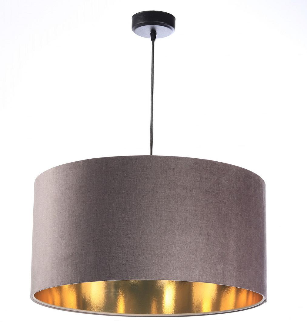 Lustr kulatý lustr 60W E27 tmavě béžový, zlatý, čalouněný