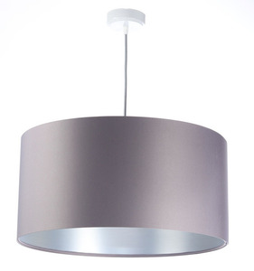 Šedá závěsná lampa Kožená 60W E27 saténová, stříbrná small 0