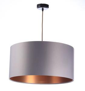 Měděný lustr, šedá Kůže 60W E27 saténová stínítko, váleček small 0