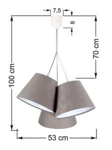 Tříbodová závěsná lampa BUCKET E27 60W šedá / bílá, semiš small 6