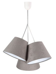 Tříbodová závěsná lampa BUCKET E27 60W šedá / bílá, semiš small 0