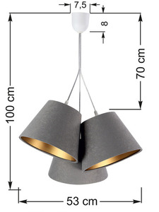 Trojitá BUCKET E27 40W lampa nastavitelná výška šedá / zlatá small 5