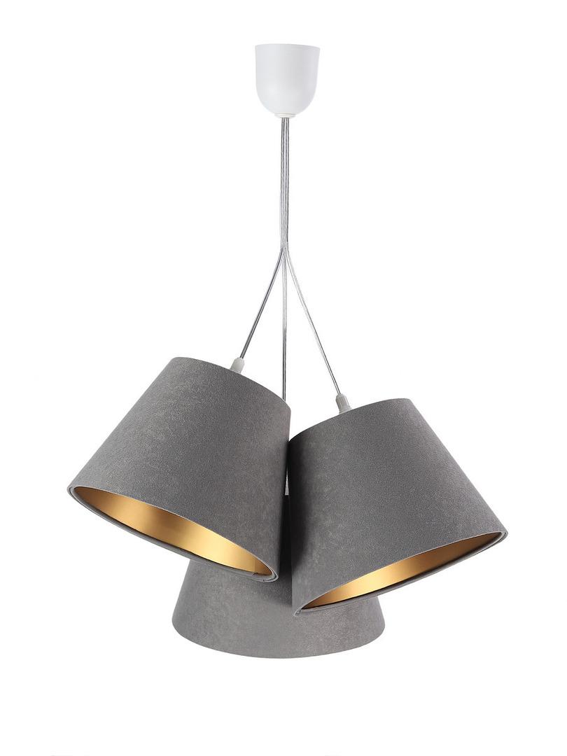 Trojitá BUCKET E27 40W lampa nastavitelná výška šedá / zlatá