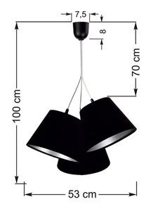 Trojitá lampa nad stolem BUCKET E27 60W černá / stříbrná, nastavitelná small 6