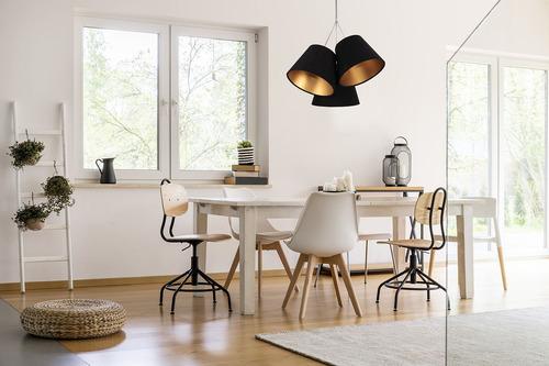Trojitá závěsná lampa do kuchyně BUCKET E27 60W černá / zlatá
