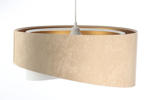 Asymetrická závěsná lampa Elegance 60W E27 velurová látka, béžová / bílá / zlatá small 3