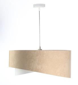 Asymetrická závěsná lampa Elegance 60W E27 velurová látka, béžová / bílá / zlatá small 4