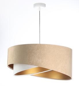 Asymetrická závěsná lampa Elegance 60W E27 velurová látka, béžová / bílá / zlatá small 6