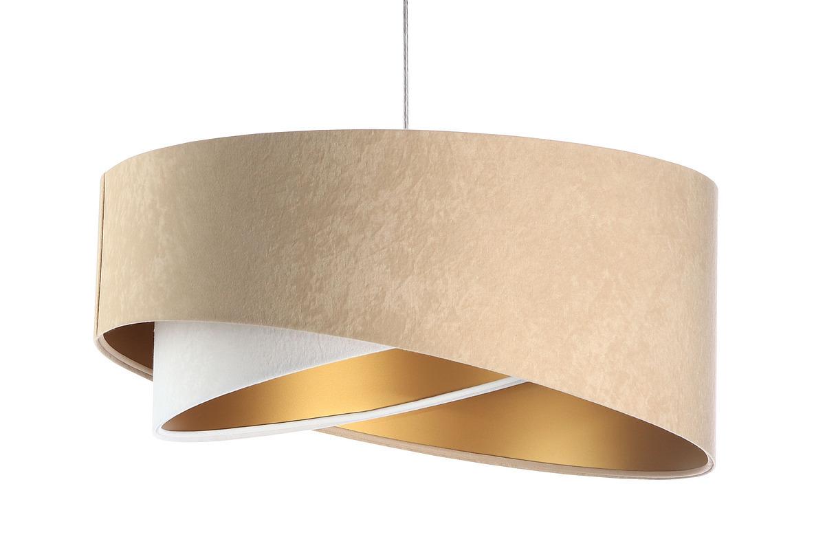 Asymetrická závěsná lampa Elegance 60W E27 velurová látka, béžová / bílá / zlatá